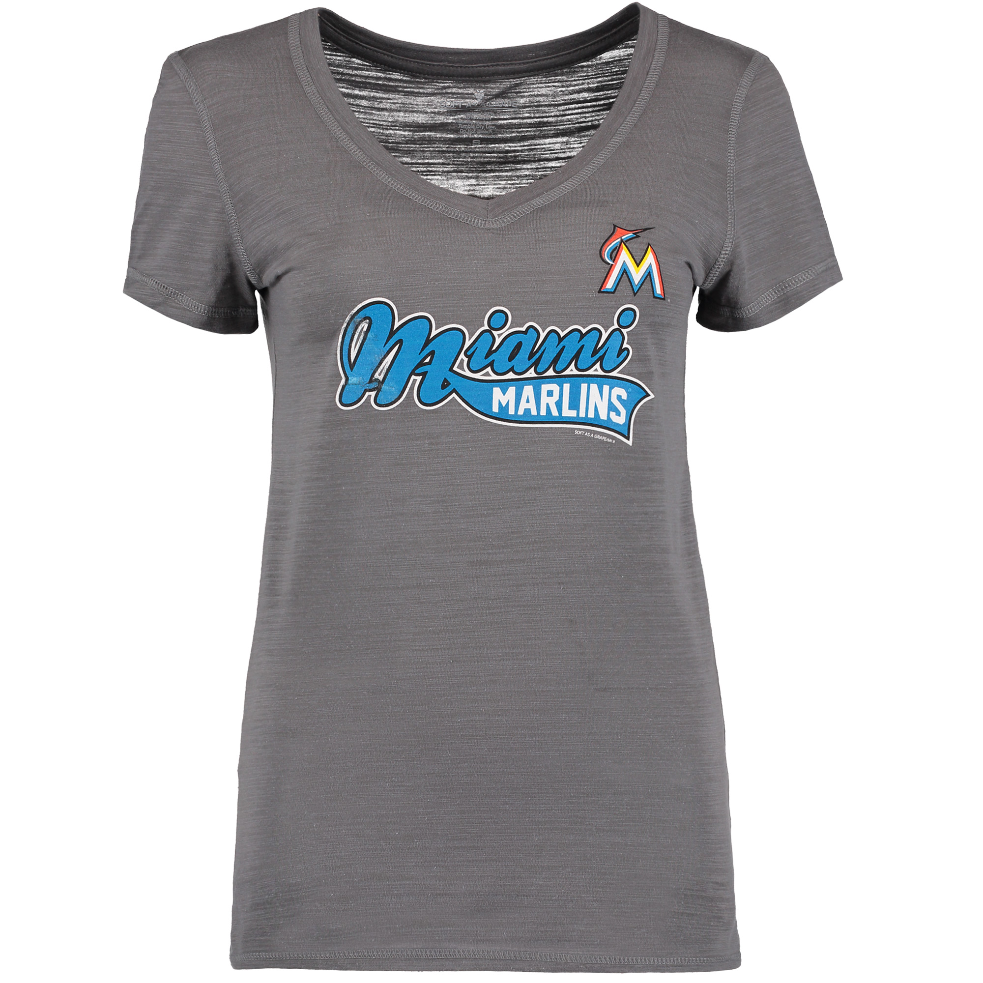 Miami Marlins Soft as a Grape Women's Multi Count V-Neck T-Shirt - Charcoal