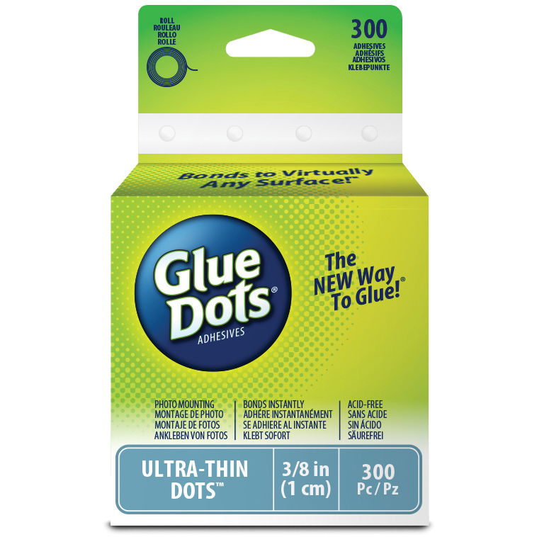 "Glue Dots Clear Dot Roll-Ultra Thin .375"" 300/Pkg"
