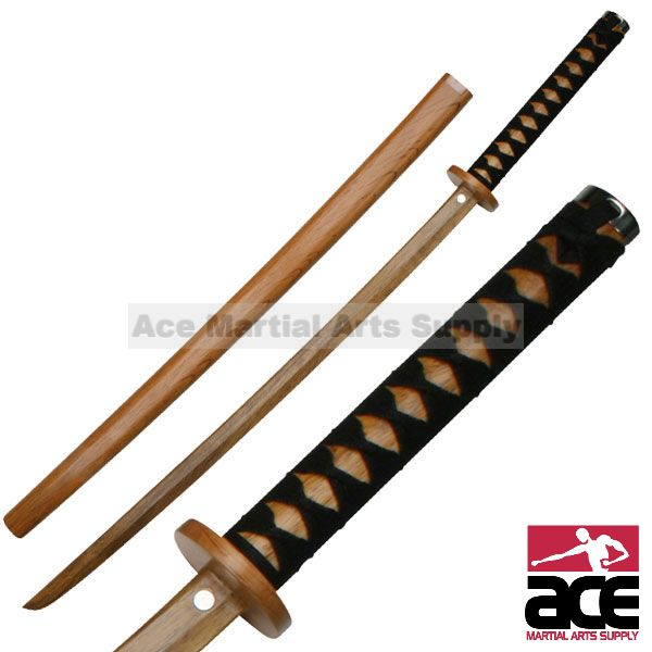 "SAMURAI WOODEN TRAINING SWORD 40"" WOOD BOKKEN BOKKEN WITH SCABBARD CORD WRAPPED HANDLE MADE FROM RED OAK"