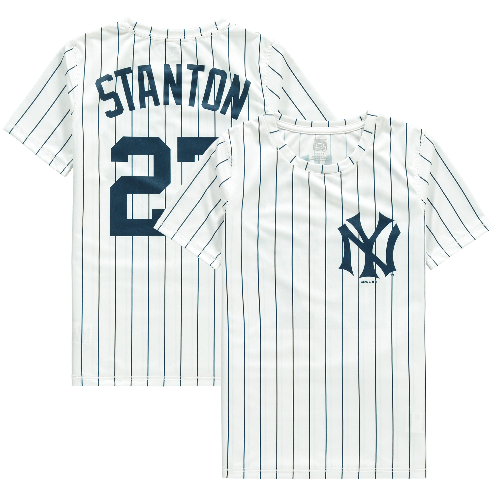 Giancarlo Stanton New York Yankees Youth Cooperstown Player Sublimated Jersey Top - White/Navy