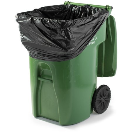 PlasticMill 95 Gallon, Black, 1.2 Mil, 61x68, 50 Bags/Case, Garbage Bags / Trash Can Liners. ()