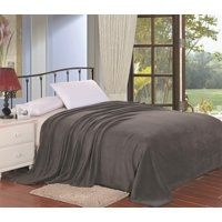 """Simply Lush King Size Solid Microplush Blanket (102"""" x 86"""") - Grey"""