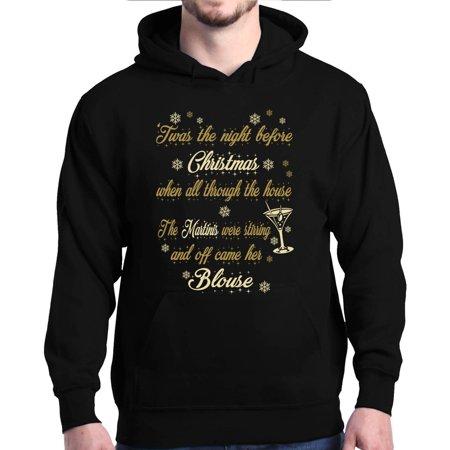 Shop4ever Mens Twas The Night Before Christmas Martinis Stir Hooded