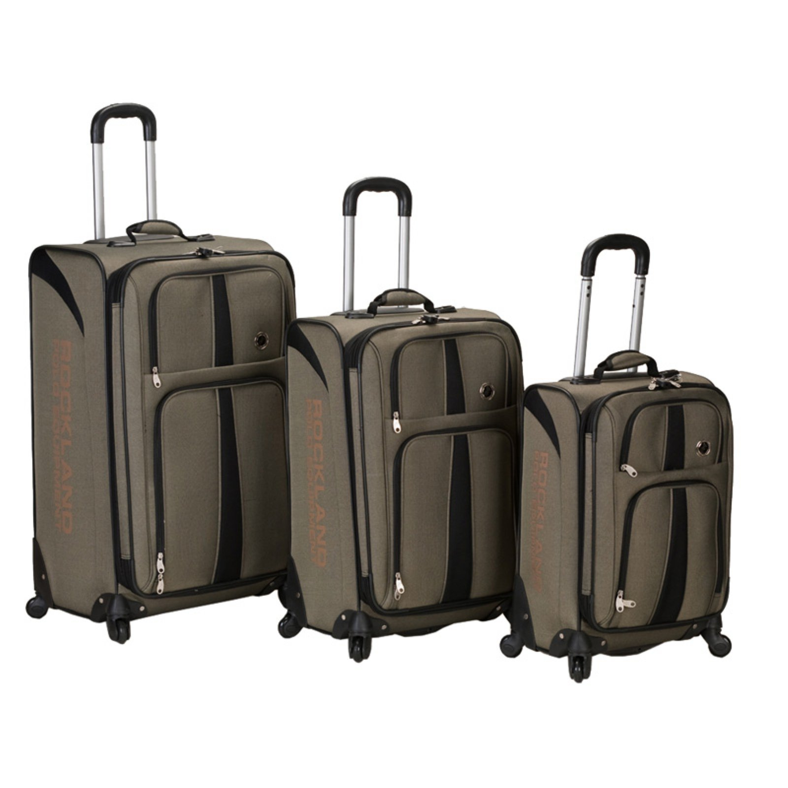 Rockland Luggage 3-Piece Eclipse Spinner Luggage Set, Tan