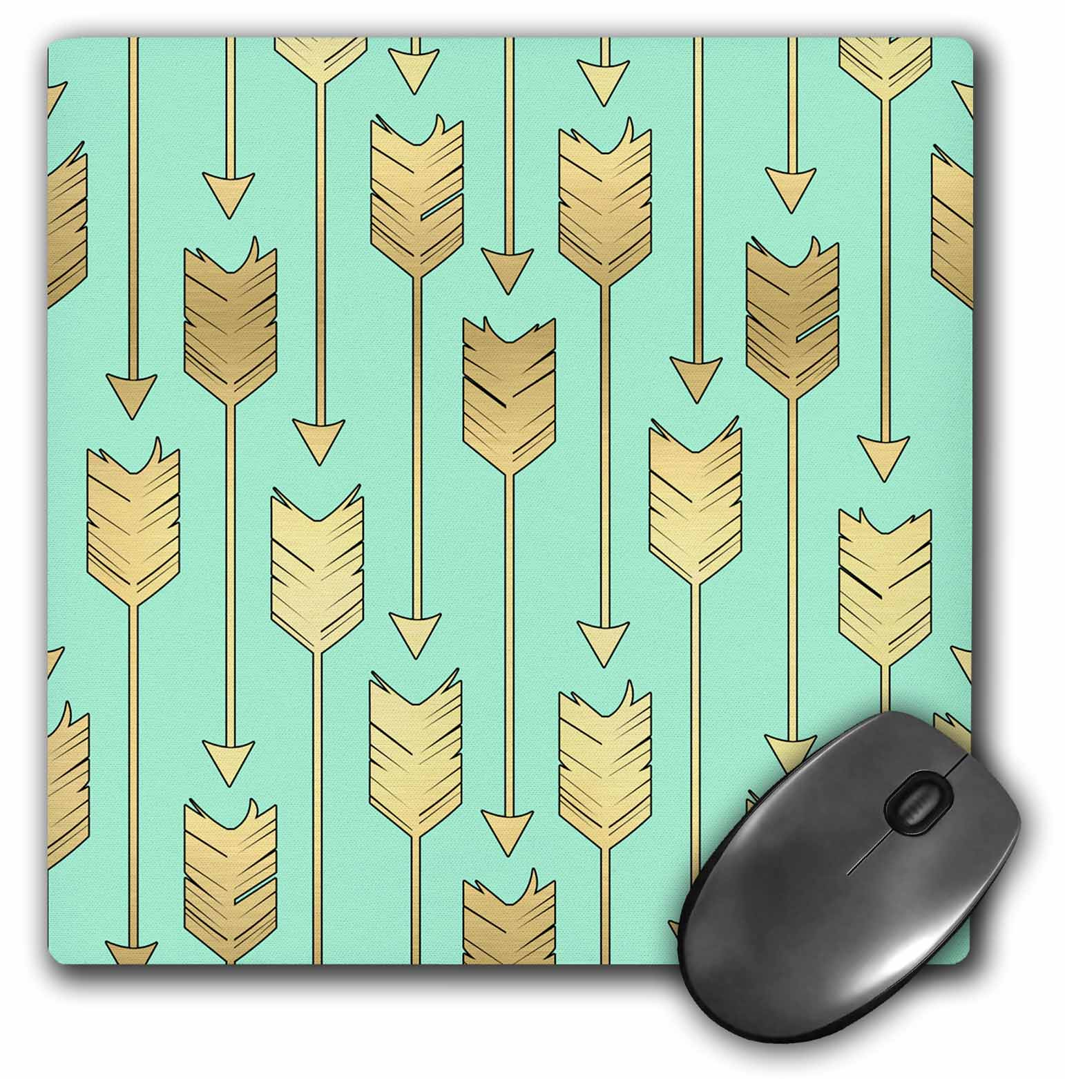 3dRose Mint and Gold Arrows Pattern, Mouse Pad, 8 by 8 inches by 3dRose