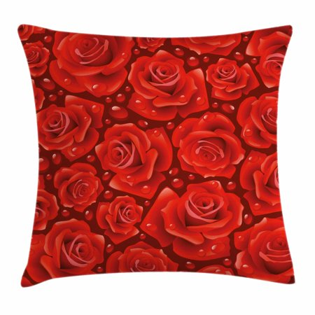 Rose Throw Pillow Cushion Cover, Vivid Red Roses Rain Water Drops Graphic Dewy Meadows Inspired Romantic Pattern, Decorative Square Accent Pillow Case, 20 X 20 Inches, Ruby Vermilion, by Ambesonne