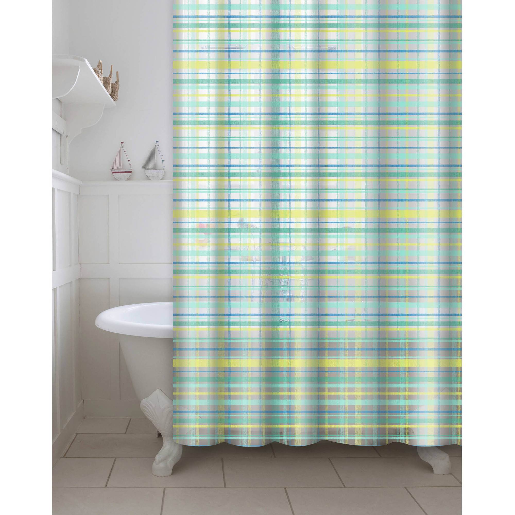 Eco-Friendly Printed Plaid PEVA/EVA Shower Curtain with Metal Roller Hooks