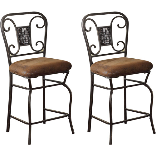 Acme Sergipe Counter Chair, Set of 2, Saddle