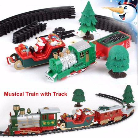 First Christmas Carriage (20-Piece Battery Operated Christmas Musical Express Train Carriages Tree Headlight Tracks Playset Fashion Funny Birthday Gift Kids Toy Christmas Decoration Christmas Decor Gift)