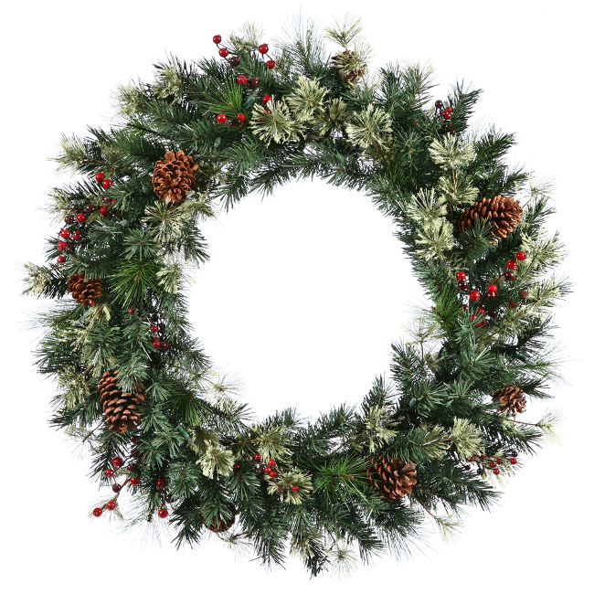 "60"" Nisswa Berry Pine w/Pine Cones Commercial Christmas Wreath - Unlit"
