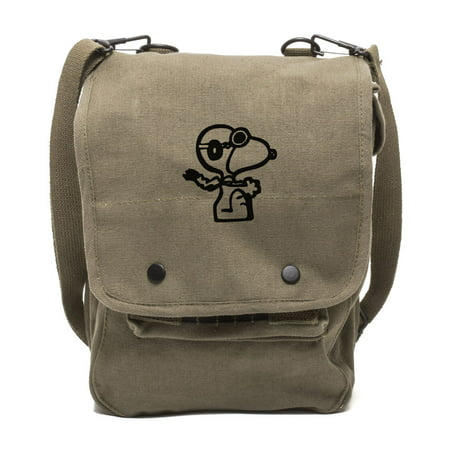 Snoopy Flying Ace Canvas Crossbody Travel Map Bag Case in Olive &
