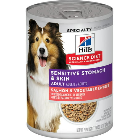 Hill's Science Diet Adult Sensitive Stomach & Skin Salmon & Vegetable Entree Wet Dog Food, 12.8 oz,