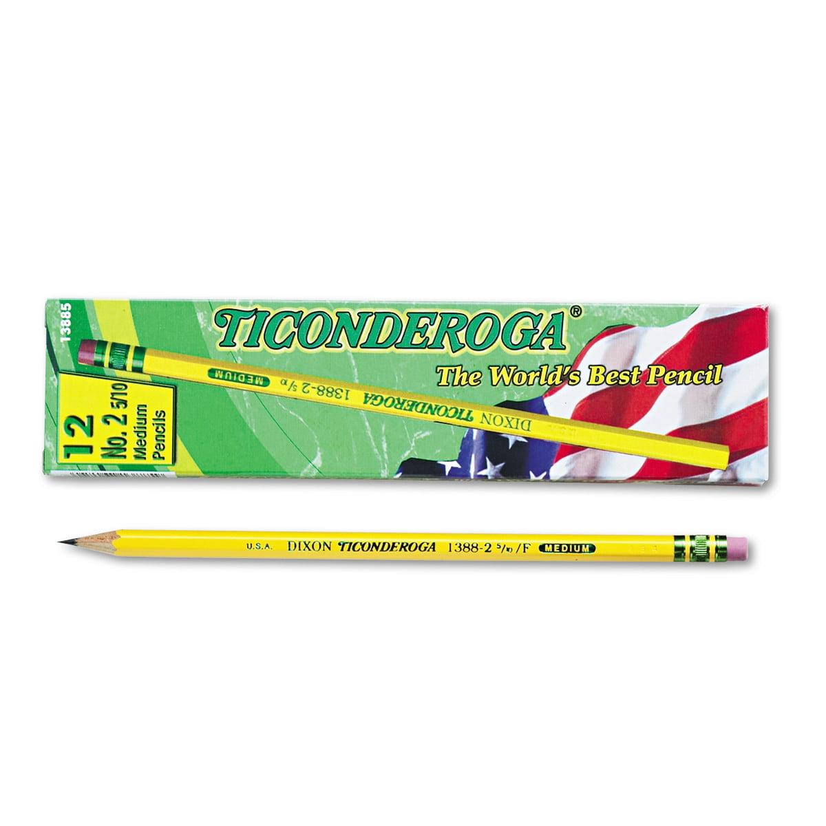 Ticonderoga Woodcase Pencil, F #2.5, Yellow, Dozen -DIX13885