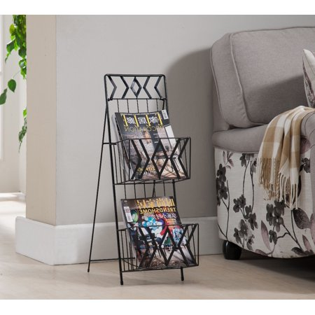 Black Metal 2 Tier Magazine Rack Organizer Display Stand