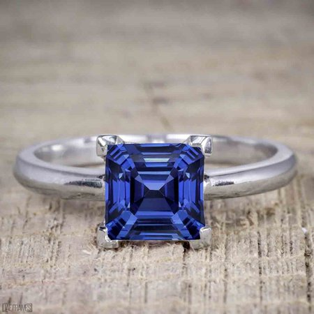 1 Carat Princess Cut Sapphire Solitaire Engagement Ring in White Gold