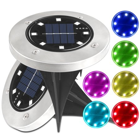 2pcs/pack 8 LED Solar Power In-ground Lamp Buried Light Outdoor Way Garden Decking Underground Lamps Colorful Decoration - image 1 de 7