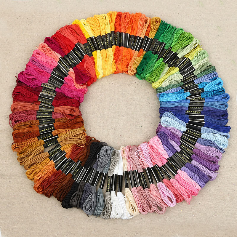 100 Skeins of 8M Multi-color Soft Cotton Cross Stitch Embroidery Threads Floss Sewing