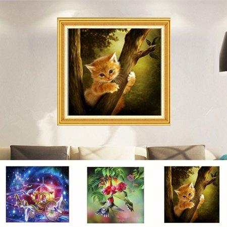 Fairy Cat Painting (Girl12Queen Modern Cat Bird Fairy Carriage Beauty DIY Resin Diamond Embroidery)