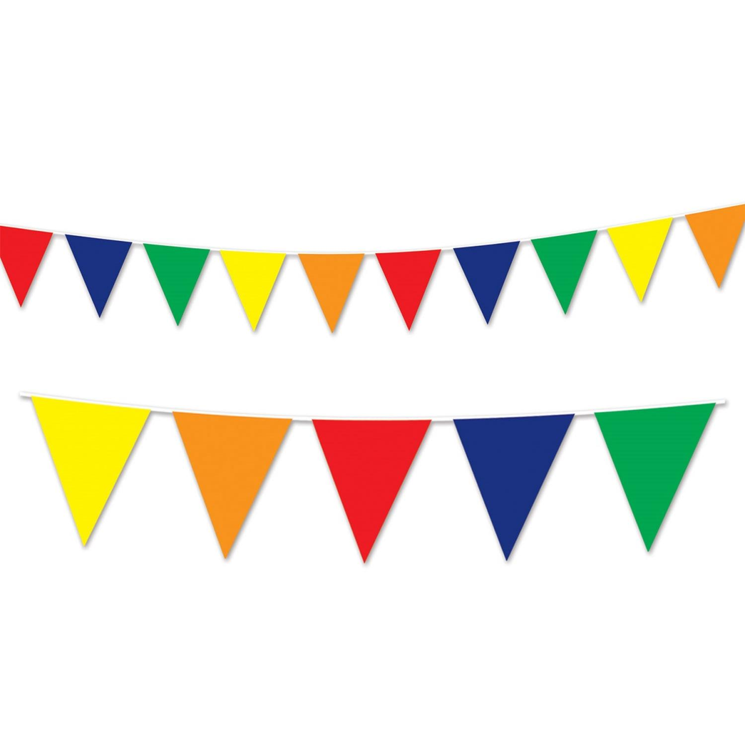 Club Pack of 12 Multi-Colored Circus Themed Outdoor Pennant Banner Hanging Party Decorations 30'
