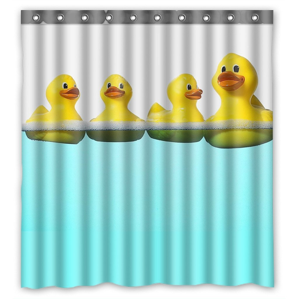 GCKG Funny and Cute Tiled Yellow Rubber Ducky Bathroom Shower Curtain, Shower Rings Included 100% Polyester Waterproof Shower Curtain 66x72 Inches