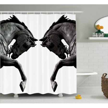 Sculptures Decor Shower Curtain Set, Twin Contrast Horse Heads Statue Image Vintage Style Abstract Art Antigue War Theme Print, Bathroom Accessories, 69W X 70L Inches, By Ambesonne