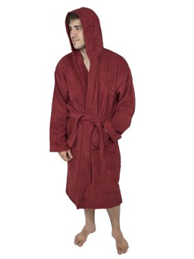 Mens 100% Terry Cotton Toweling Bathrobe Dressing Robe Hooded Wine Small