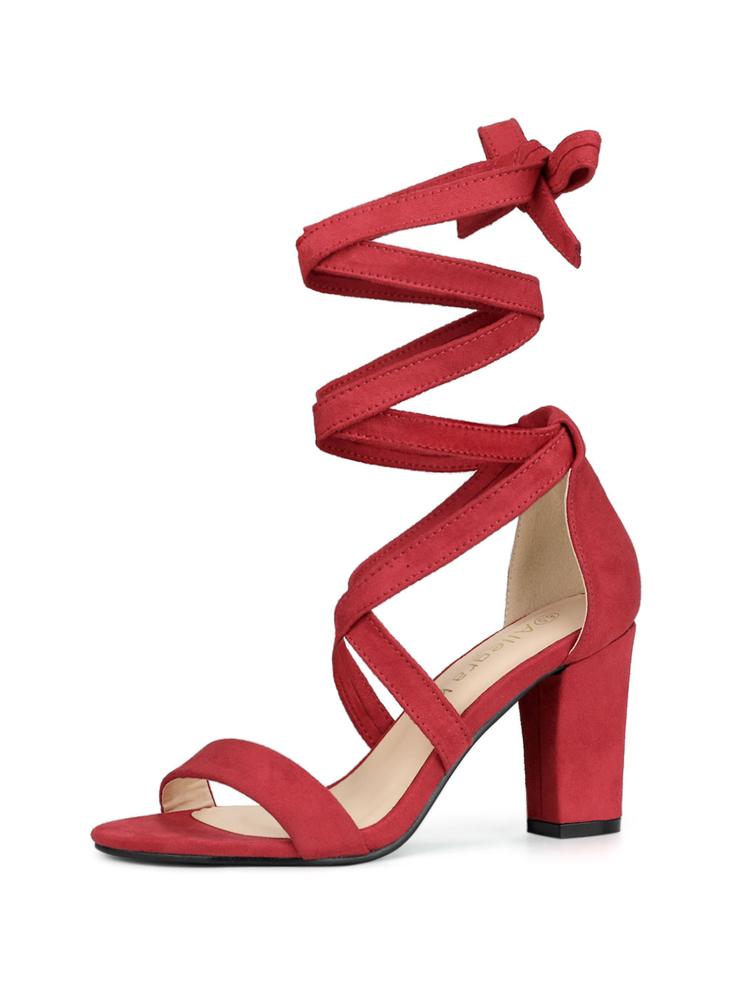 Lace Up Mid Block Heels Sandals Red