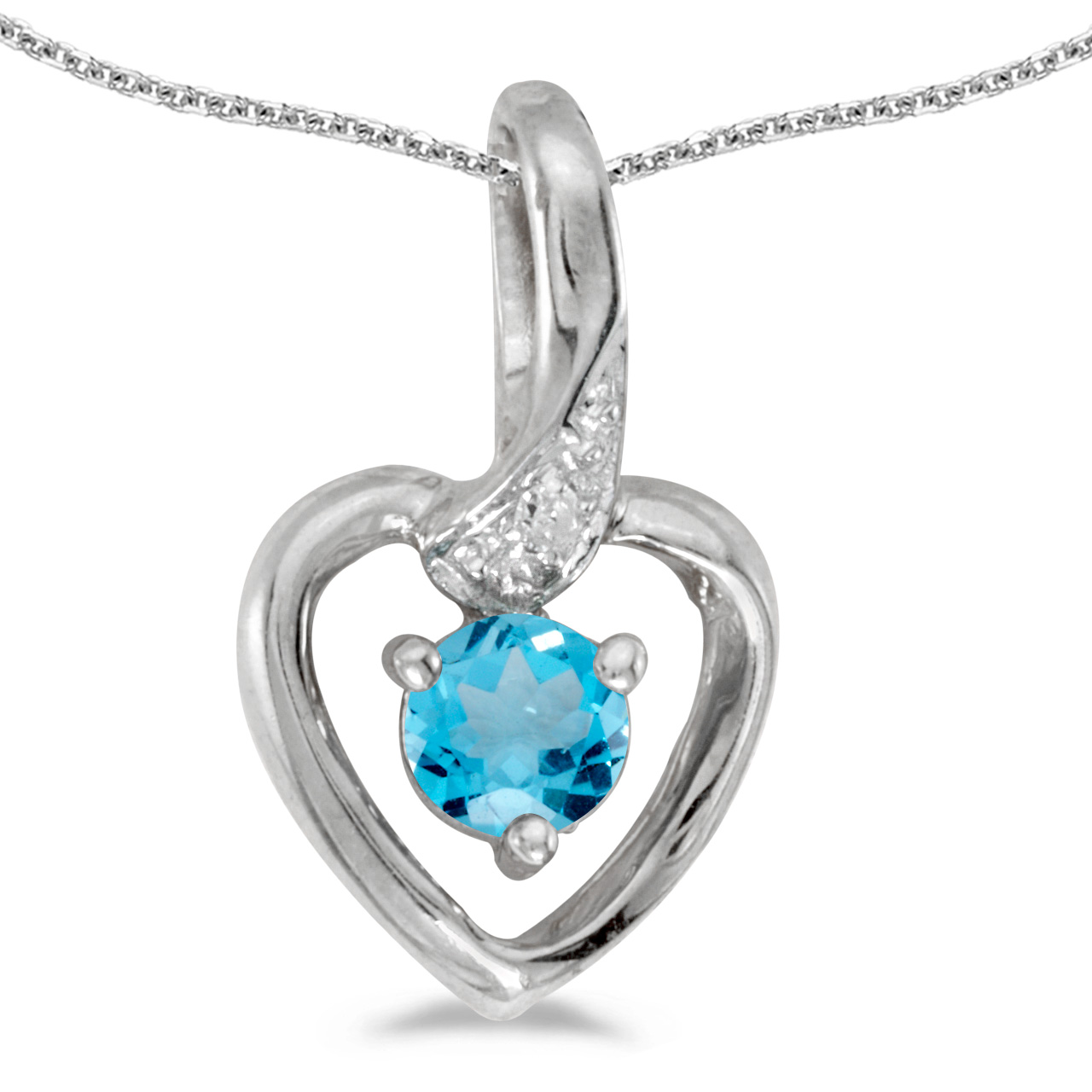 "10k White Gold Round Blue Topaz And Diamond Heart Pendant with 16"" Chain by"