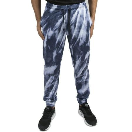 Vibes Men's Navy Fleece Tiedye Print Jogger Pant Elastic Waist & Bottom Navy Fleece Pant