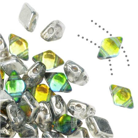 Czech Glass DiamonDuo Mini, 2-Hole Diamond Shaped Beads 4x6mm, 8 Grams, Prismatic (Prismatic Gems)