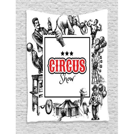 Creepy Bedroom Decor (Vintage Tapestry, Circus Show Logo with Magician Elephant Creepy Tricks Performance Sketchy Artwork, Wall Hanging for Bedroom Living Room Dorm Decor, Orange Black, by)