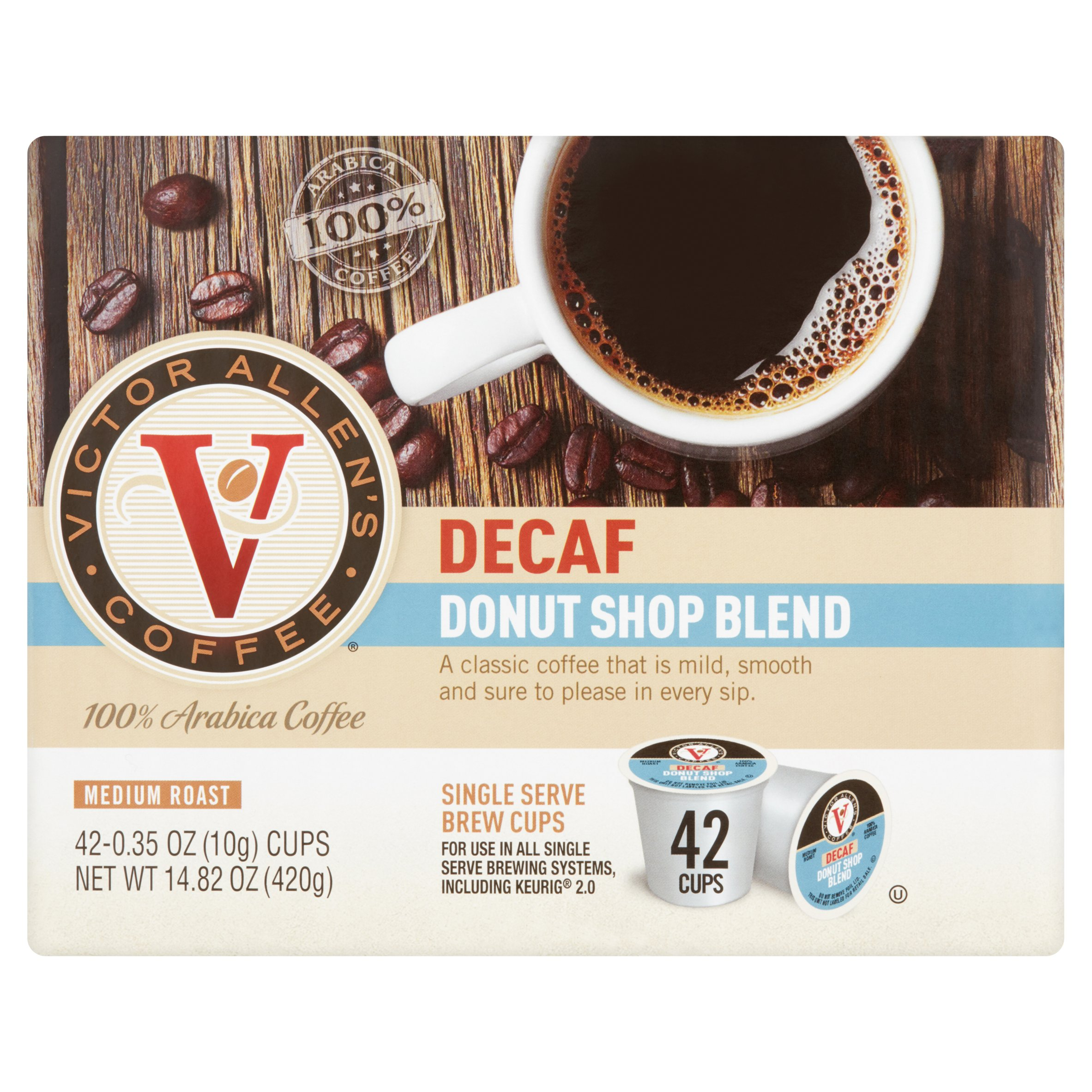 Victor Allen's Coffee Decaf Donut Shop Blend Single Serve Brew Cups, 0.35 oz, 42 count