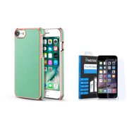 BasAcc PU Leather Chrome Hard Back Case Cover for iPhone 7 - Mint Green/Rose Gold (with Tempered Glass Screen Protector)