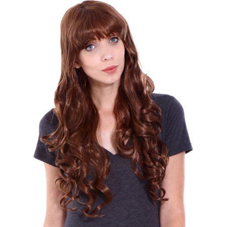 Long Brown Curly Wig Halloween (Women Wigs Long Curly Full Wavy Cosplay Party Wigs, Light)