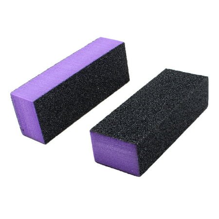 (Unique Bargains Nail File Buffer 2 Pcs Black Purple Shiner Buffing Block Sanding Tool)