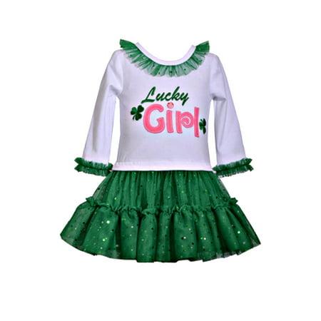 4-6X Girls Green Lucky Girl St Patty Shirt And Skirt Set 5