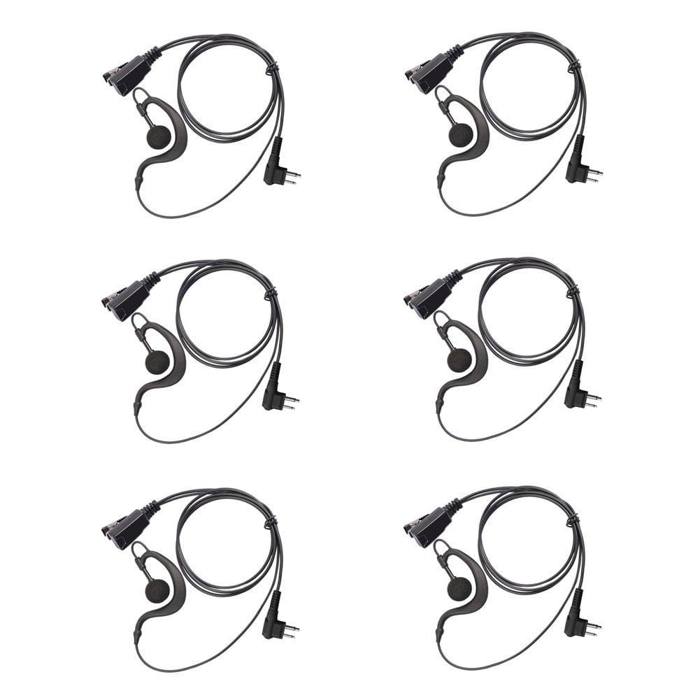 Arama G Shape Earpiece Headset for Motorola 2 way radio _ 2 pin G Shape Headset with PTT and MIC for Motorola Walkie Talkie _