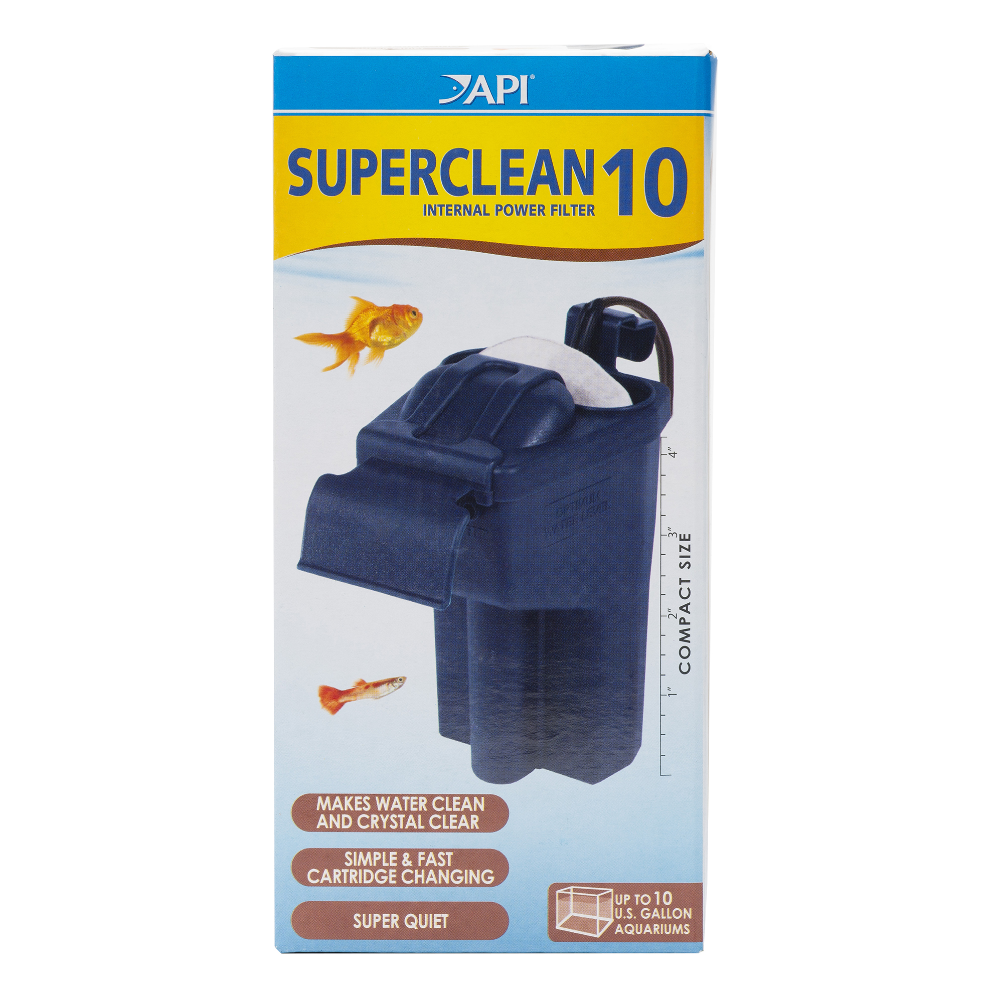 API SUPERCLEAN 10 INTERNAL POWER FILTER Aquarium Internal Filter 1-Count