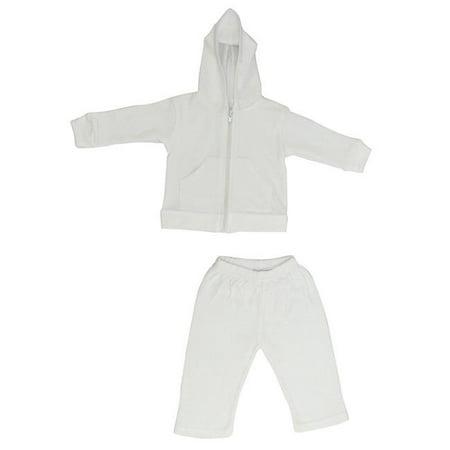 Bambini 419L Ensemble pantalon et sweat - capuche Interlock, blanc - Grand - image 1 de 1