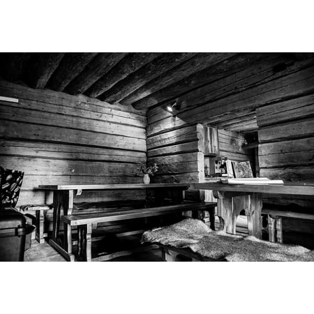 Canvas Print Black Nature Black and White Old House White Stretched Canvas 10 x 14 ()