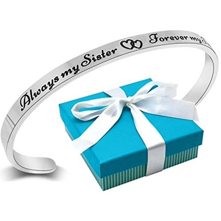 Sister Bracelet Gift from Sister or Brother ''Always My Sister Forever My Friend'' Mantra Quote Cuff Bracelet, Big Little Sis Gifts, Best Christmas Birthday Jewelry Presents, Women, Teens, Adults ()