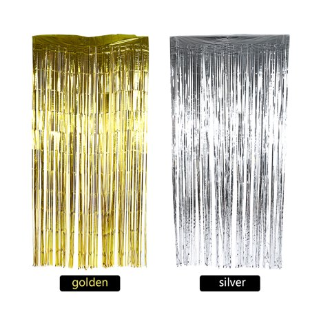 Dilwe Foil Curtains,Birthday Wedding Party Reusable Foil Tinsel Fringe Curtain Doorway Room Hanging Decoration, Foil - Hanging Beads Doorway