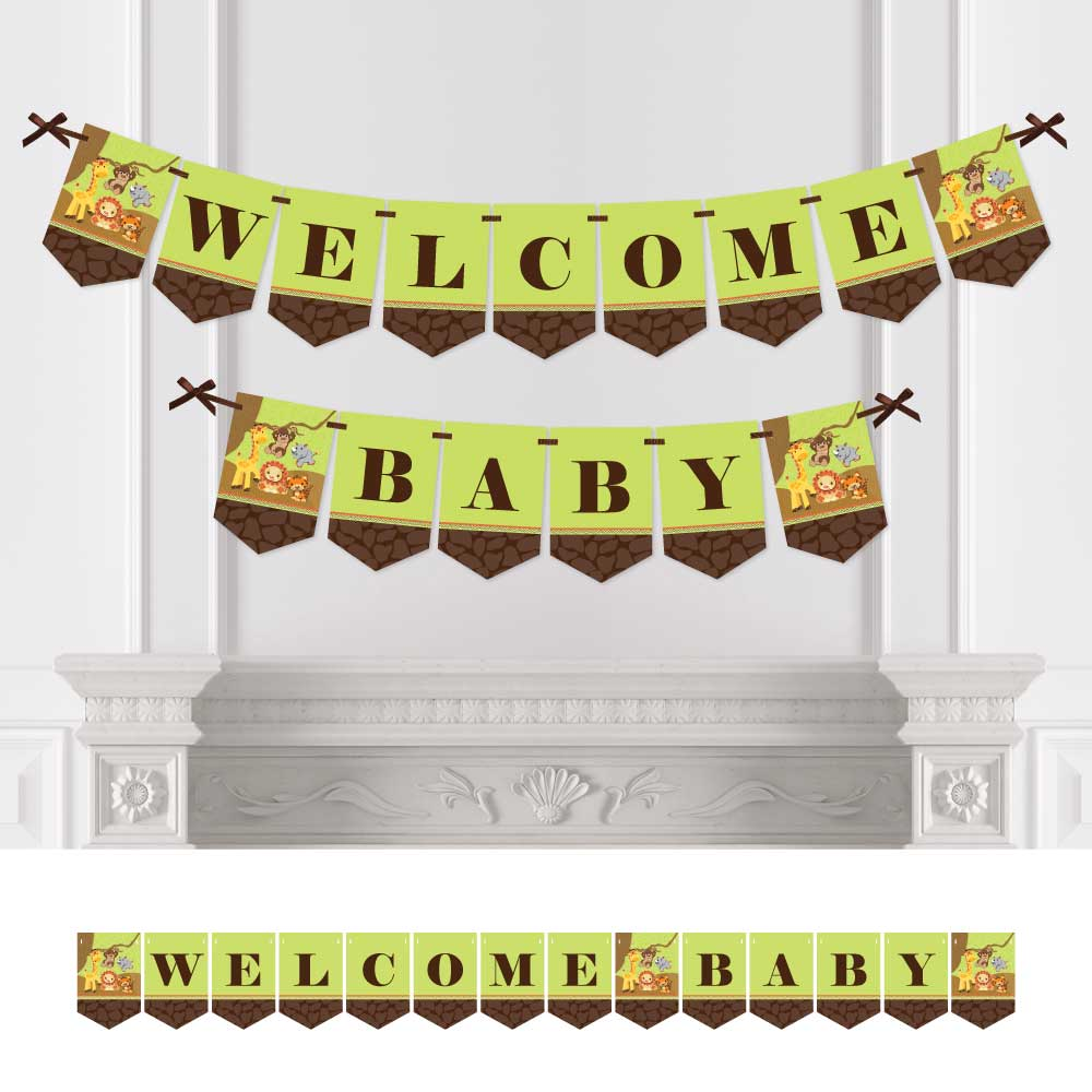 Funfari - Fun Safari Jungle - Baby Shower Bunting Banner - Jungle Party Decorations - Welcome Baby