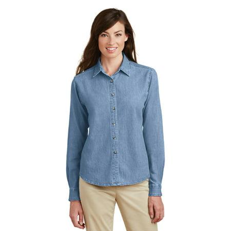 Port & Company® - Ladies Long Sleeve Value Denim Shirt.  Lsp10 Faded Blue* M - image 1 de 1