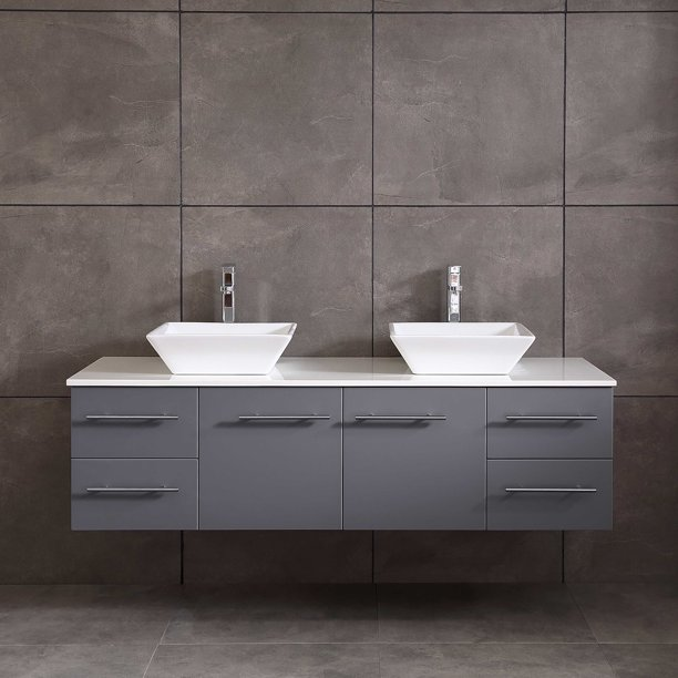 Totti Wave 72 Inch Gray Modern Double, Double Porcelain Bathroom Sink