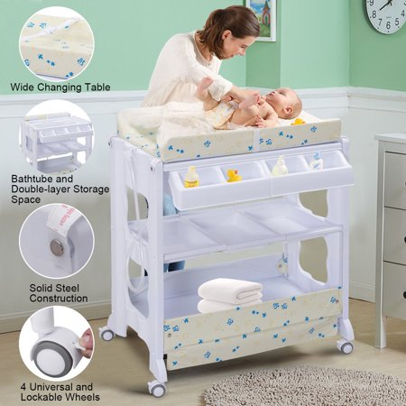 - Costway Baby Infant Bath Changing Table Diaper Station Nursery Organizer Storage w Tube