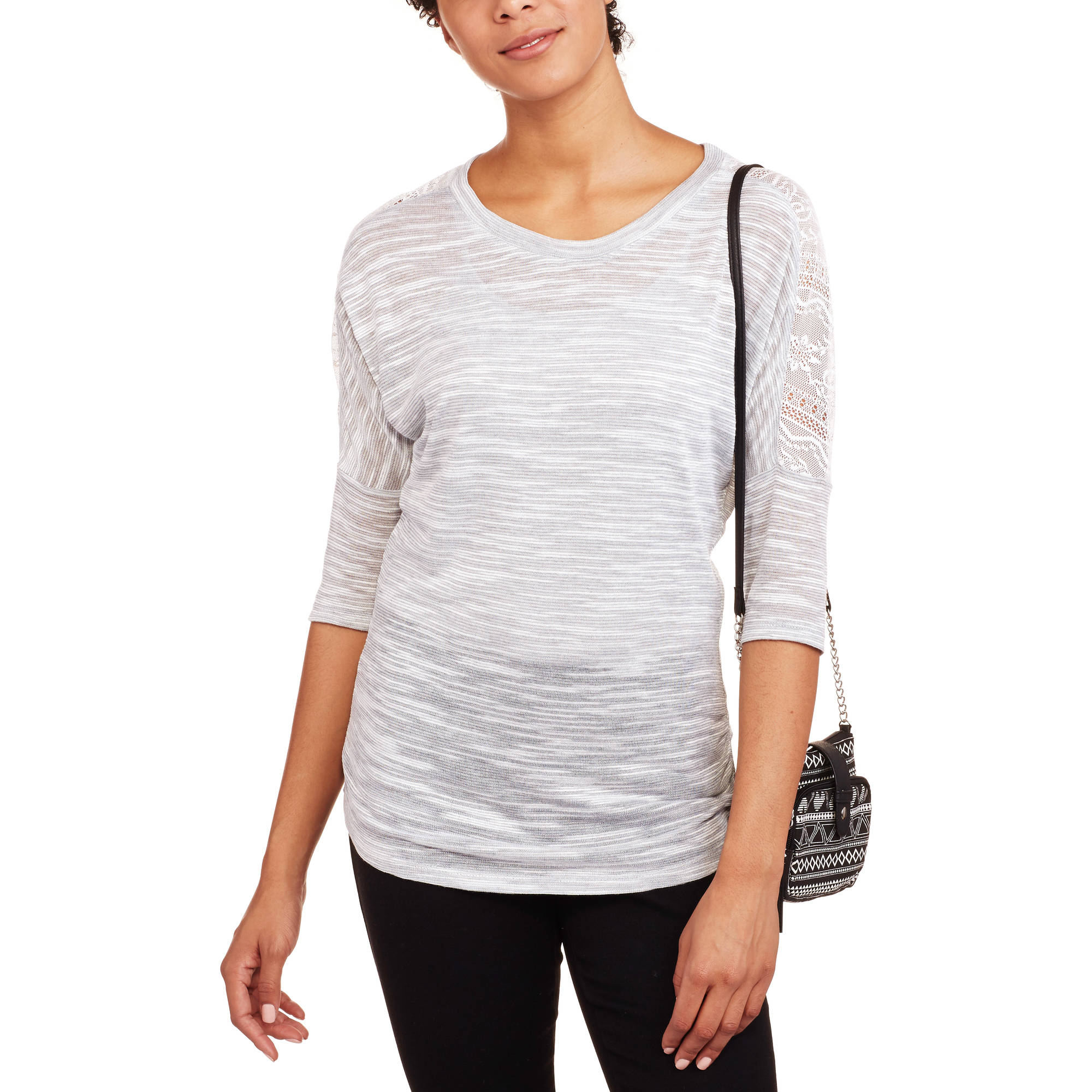 No Boundaries Juniors' Drop Shoulder 3/4 Sleeve Lace Ruched Top