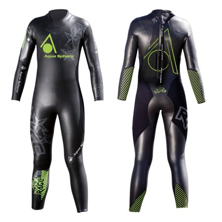 Aqua Sphere Youth Powered Multisport Rage Wet Suit  Black Green  53 59 Inch