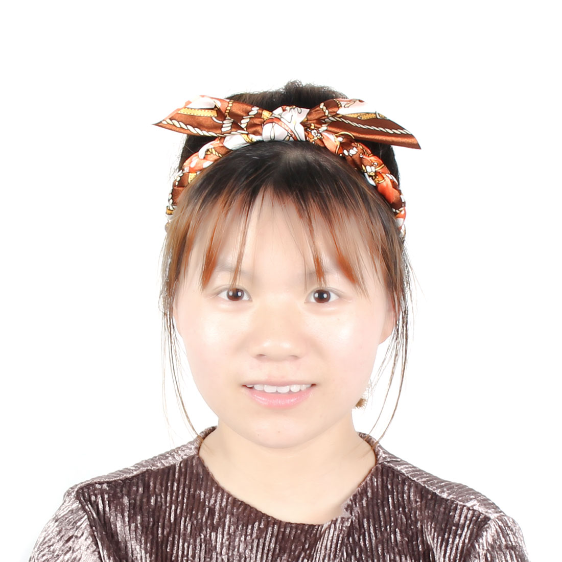 Women Polyester Braided Pigtails Design imitated rabbit Ears Headband Hair Band Orange