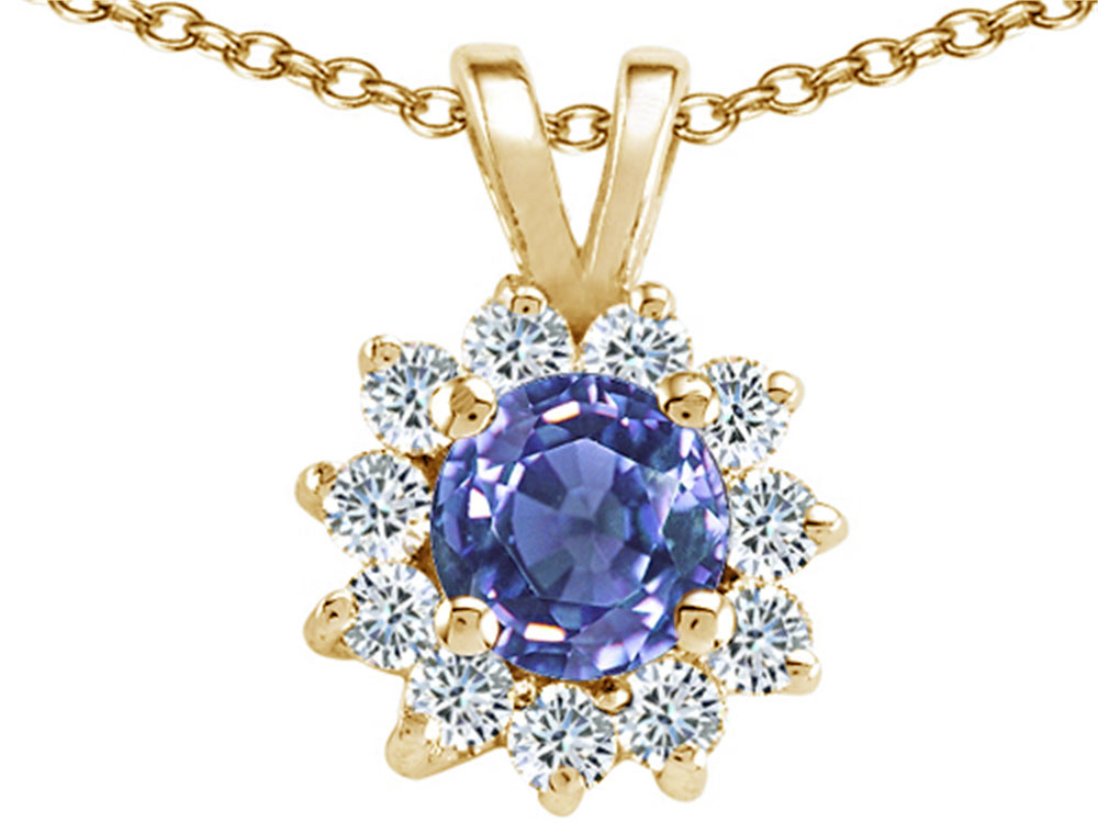 Tommaso Design Round Genuine Tanzanite Pendant Necklace by